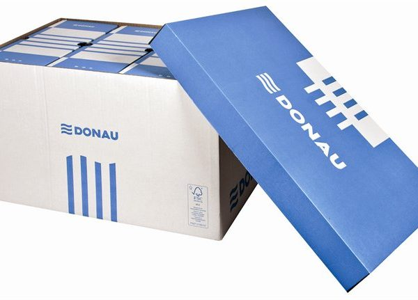 Archiválókonténer, levehető tető, 545x363x317 mm, karton, DONAU, kék-fehér (5 db)
