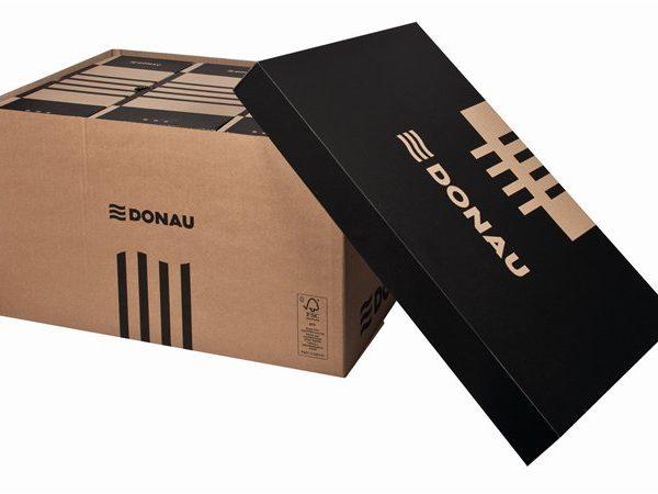 Archiválókonténer, levehető tető, 545x363x317 mm, karton, DONAU (5 db)