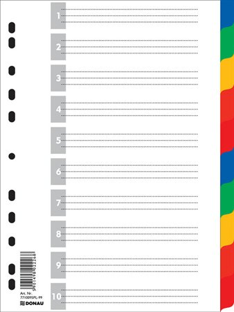 Regiszter, műanyag, A4, 10 részes, DONAU, színes