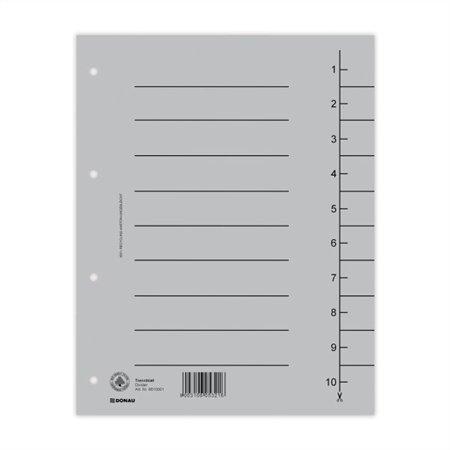 Regiszter, karton, A4, DONAU, szürke (100 db)