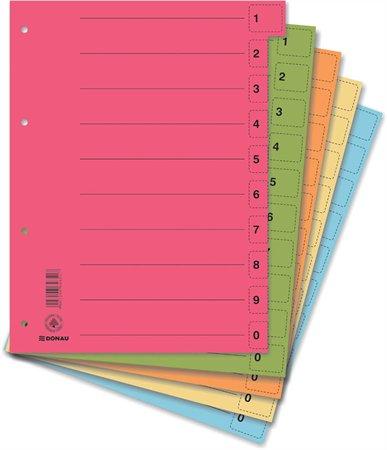 Regiszter, karton, A4, mikroperforált, DONAU, zöld (50 db)