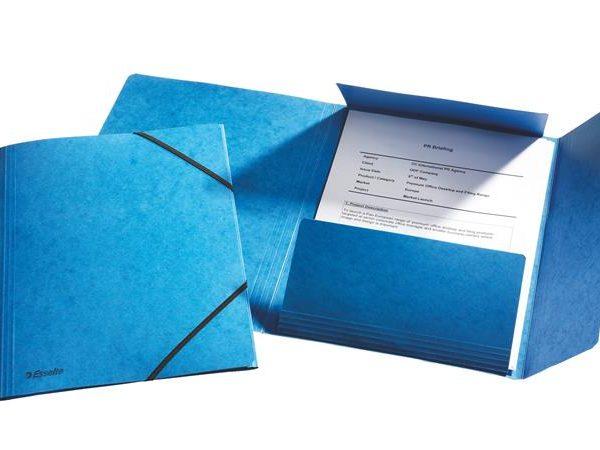 "Gumis mappa, 15 mm, prespán, A4, ESSELTE ""Rainbow"", kék"