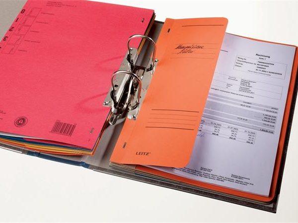 Gyorsfűző, karton, fémszerkezettel, A4 feles, LEITZ, narancssárga (50 db)