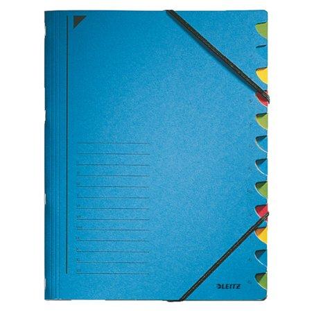 Gumis mappa, karton, A4, regiszteres, 12 részes, LEITZ, kék