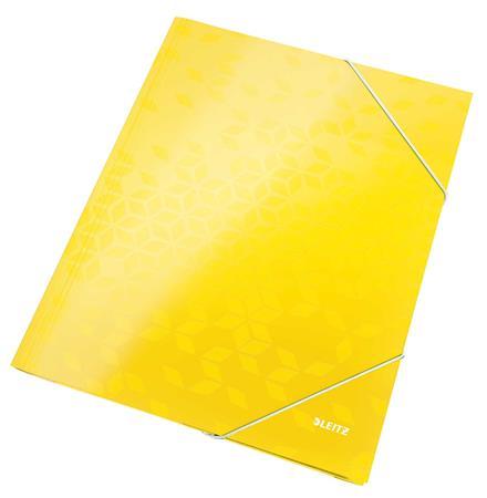 """Gumis mappa, 15 mm, karton, A4, LEITZ """"Wow"""", sárga"""