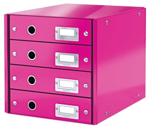 """Irattároló, laminált karton, 4 fiókos, LEITZ """"Click&Store"""", rózsaszín"""