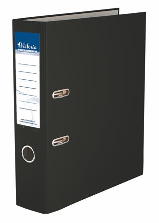 "VICTORIA iratrendező, 75 mm, A4, PP/karton ""Basic"" fekete"