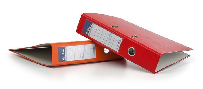 """VICTORIA iratrendező, 75 mm, A4, PP/karton, élvédő sínnel """"Basic"""" piros"""