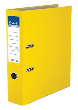 """VICTORIA iratrendező, 75 mm, A4, PP/karton, élvédő sínnel """"Basic"""" sárga"""