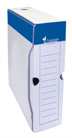Archiválódoboz, A4, 80 mm, karton, VICTORIA, kék-fehér