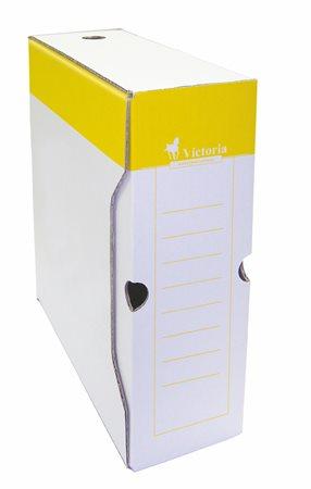 Archiválódoboz, A4, 100 mm, karton, VICTORIA, sárga-fehér