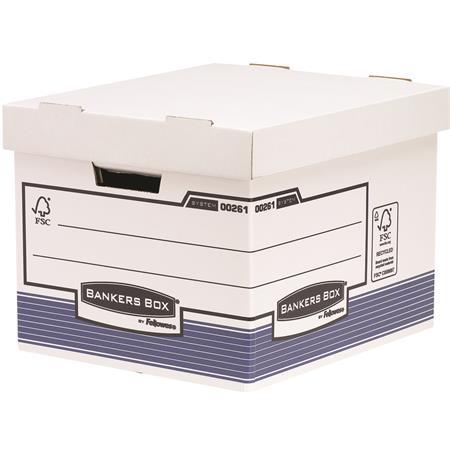 """Archiválókonténer, karton, standard, """"BANKERS BOX® SYSTEM by FELLOWES®"""", kék/fehér, 6 db/csomag"""