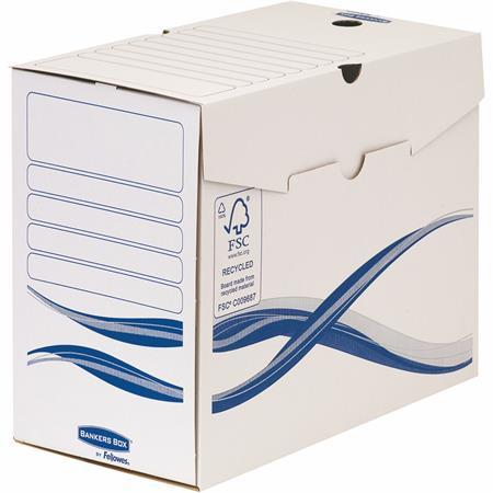 """Archiválódoboz, A4, 150 mm, FELLOWES """"Bankers Box Basic"""", kék-fehér (25 db)"""
