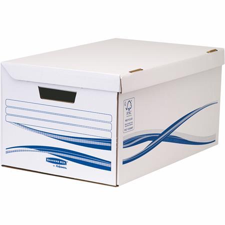 """Csapófedeles archiválókonténer, karton, nagy, 6 db Archiválódobozzal, FELLOWES """"Bankers Box Basic"""", kék-fehér (7 db)"""