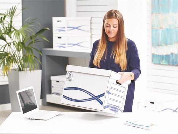 """Archiválókonténer, karton, FELLOWES, """"Bankers Box Basic Tall"""", kék-fehér (10 db)"""