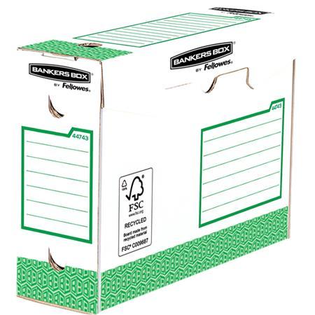 """Archiválódoboz, extra erős, A4+, 100 mm, FELLOWES """"Bankers Box Basic"""", zöld- fehér (20 db)"""