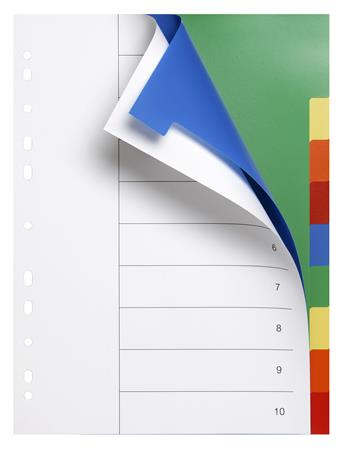 Regiszter, műanyag, A4, 10 részes, VICTORIA, színes